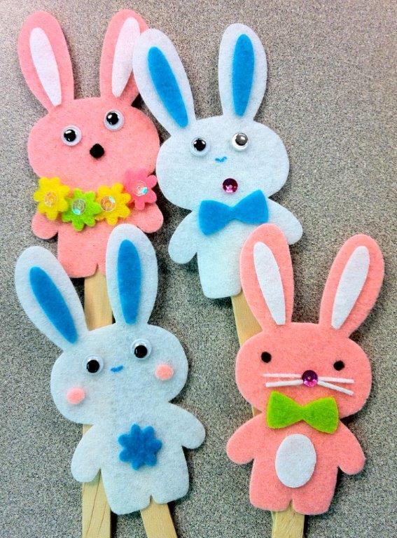 Felt homemade bunnies on lollypop sticks