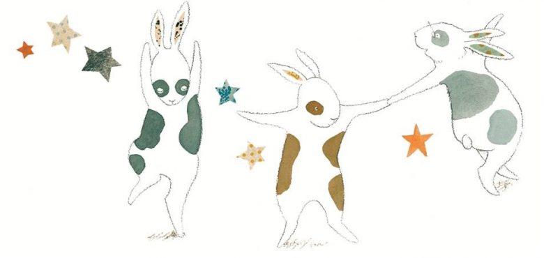 3 cartoon dancing bunnies